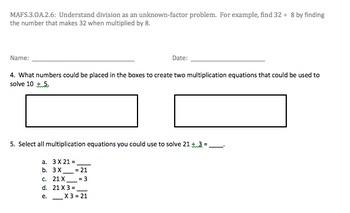 Bundle of grade three Operations and Algebraic thinking As