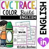 Bundled CVC Trace, Color, Build words for Short Vowels a e i o u