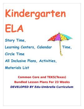 Kinder:  Bundled ELA K Lesson Plans Weeks #1-23