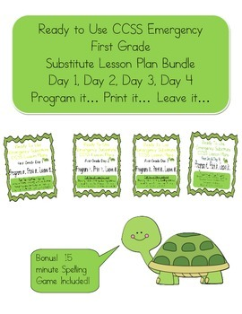 Bundled Editable, No Prep, First Grade Substitute CCSS Les