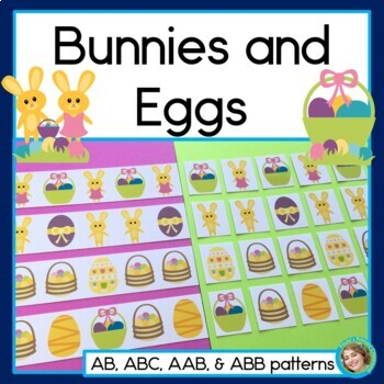 Bunnies And Eggs, Easter Pattern Math Center with AB, ABC,