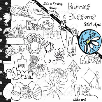 Bunnies and Blossoms, Spring, March - B&W Line Art,