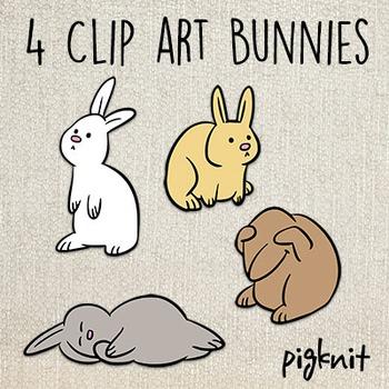 Bunny Clip Art -- 4 Cute Bunny Rabbits in 4 Simple Poses  