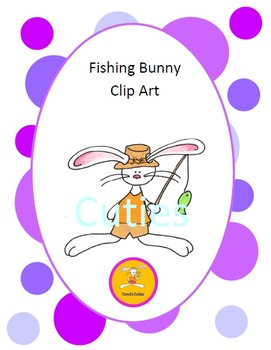 Bunny Clip Art - Fishing bunny in full color and black line