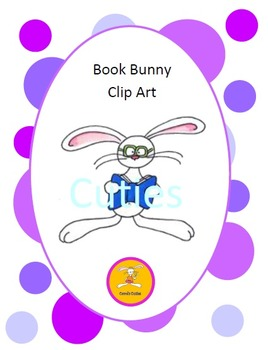 Bunny Clip Art - Reading Bunny in full color and black line
