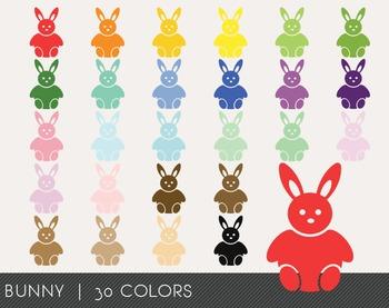 Bunny Digital Clipart, Bunny Graphics, Bunny PNG, Rainbow
