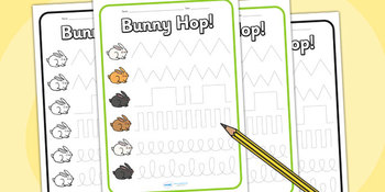Bunny Hop Pencil Control Worksheet Black and White