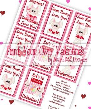 Bunny Love Printable Childrens Valentine Cards d1