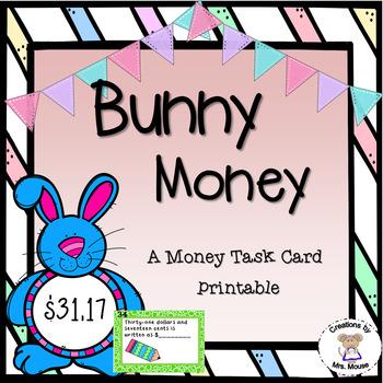 Math-Money Story Problem Task Cards - Bunny Money