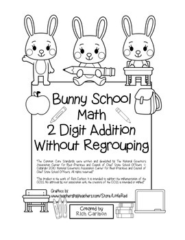 """Bunny School Math"" 2 Digit Addition Without Regrouping -"