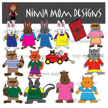Bunny and Friends Childrens Book Clip Art in Color and Black Line