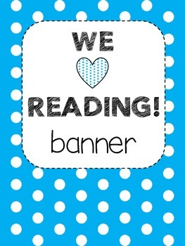 Bunting Banner -  WE LOVE READING! (blue and white)