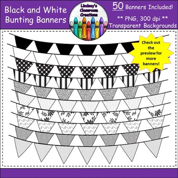 Bunting Banners / Pennant Banners Clip Art - Black and Whi