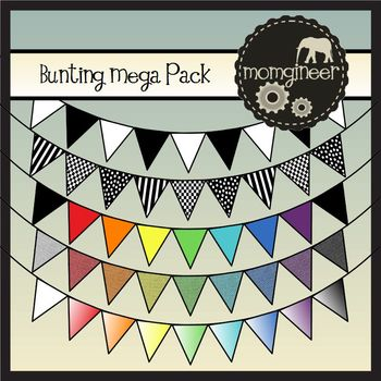 Bunting Borders Mega Pack: Bundle of Designs in Bold Color