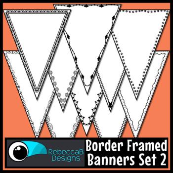 Bunting Clip Art: Single Point Pennant Borders Set 2