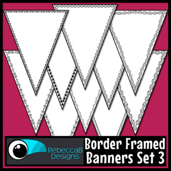 Bunting Clip Art: Single Point Pennant Borders Set 3