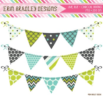 Bunting Clipart - Lime Blue & Charcoal Gray