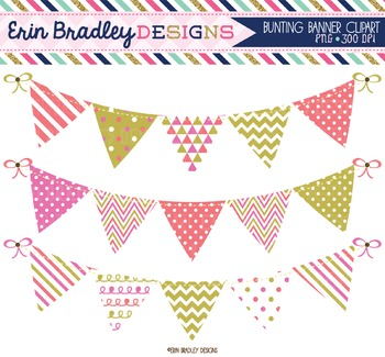 Bunting Clipart - Pink Coral & Gold