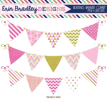 Bunting Clipart - Pink & Gold