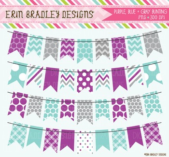 Bunting Clipart - Purple Blue & Gray
