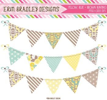 Bunting Clipart - Yellow Blue & Brown