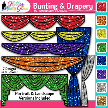 Drapery and Bunting Clip Art {Great for Graduation, Drama,
