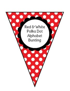 Bunting - Red & White Polka Dot Alphabet