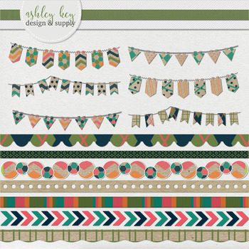 Bunting and Border Clipart- Craft Paper Pop Collection