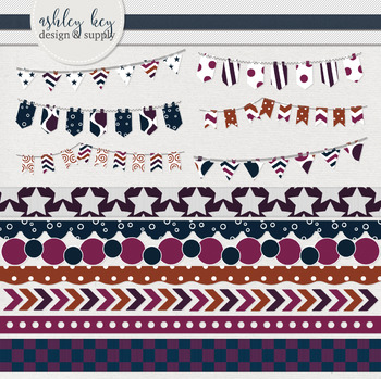 Bunting and Borders Clipart Bundle- Sunset Collection
