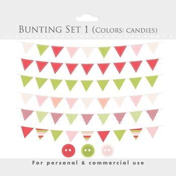 Bunting banner clipart - flag clip art, stitched flags, de
