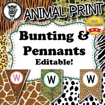 Buntings & Pennants - Animal Print - ZizforZebra - Editable