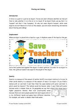 Buoyancy / Floating and sinking Lesson plan, Activities, T