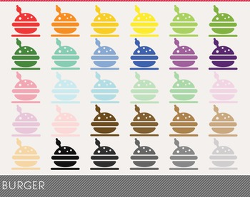 Burger Digital Clipart, Burger Graphics,Burger PNG,Rainbow