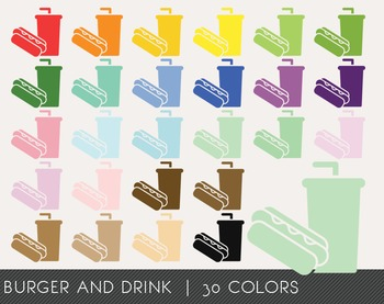 Burger and Drink Digital Clipart, Burger and Drink Graphics