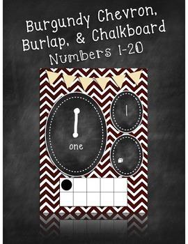 Burgundy Chevron, Burlap, and Chalkboard Numbers 1-20