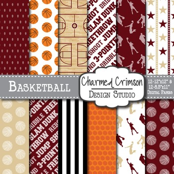 Burgundy and Red Basketball Digital Paper 1323