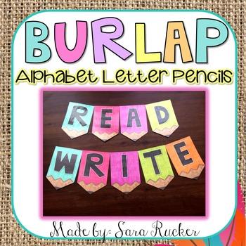 Burlap Alphabet Letter Pencils