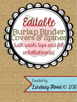 Burlap Binder Covers & Spines: Felt & Washi Tape {Editable}