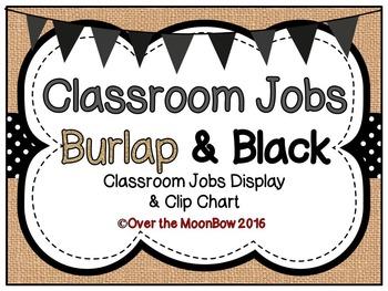 Burlap & Black Classroom Jobs Display & Clip Chart