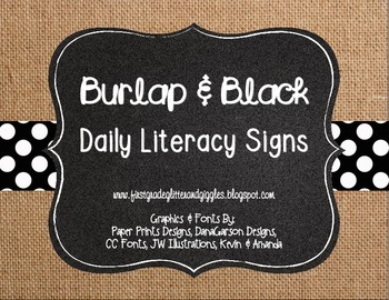 Burlap & Black Daily Literacy Signs