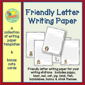 Friendly Letter Writing Paper for Emergent and Established