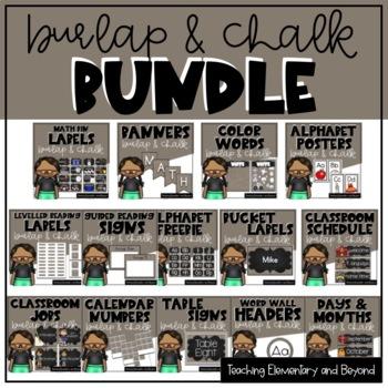 Burlap & Chalk Background Bulletin Board Bundle