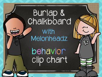 Burlap & Chalkboard Behavior Clip Chart featuring Melonheadz