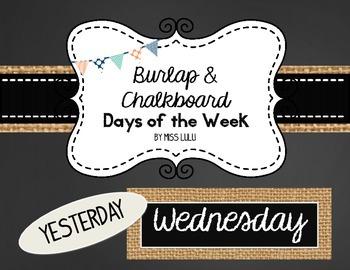 Burlap & Chalkboard Days of the Week for Classroom Calendar