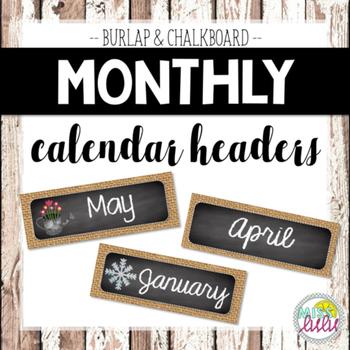 Burlap & Chalkboard Monthly Headers for Classroom Calendar