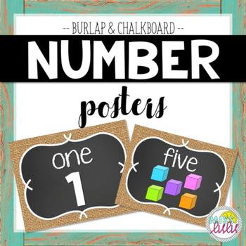 Burlap & Chalkboard Number Posters