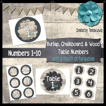 Burlap, Chalkboard, & Wood Table Numbers FREEBIE