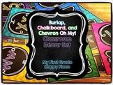 Burlap, Chalkboard, and Chevron Classroom Decor Pack - EDITABLE!