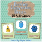 Burlap Classroom Decoration: 2D & 3D Shape Posters