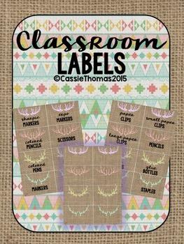 Burlap Classroom Labels {Pastel Deer Antlers, EDITABLE}